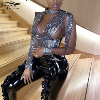 Bonnie Forest Sparkle Rhinestone Diamante Slit Sleeve Crop Top Women Glitter Sexy Deep V Neck Crystal Studded T Shirt Rave Wear