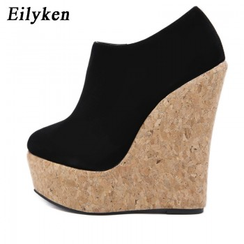 Eilyken Sexy Peep Toe Platform Wedge Pumps Shoes for Woman Nude Pumps Super High Club Wearing Heels Women shoes size 35-42