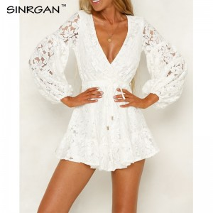 SINRGAN White Long Sleeve Embroidery Lace Dress Sexy Women v neck Backless Mini Dress Autumn vestidos New Short dresses