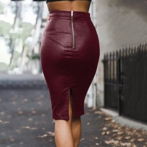 Women faux leather PU high waist slim sexy package hip skirt long skirts for female women 2018 autumn new female skirts black