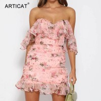 Women Elegant Floral Printed Off Shoulder Double Layer Dress Sexy Strapeless Ruffles Ruched Mini Chiffon Spring Dress