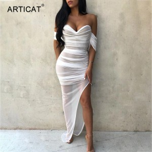 Double Layer White Mesh Sexy Maxi Dress Women Off Shoulder Strapess Bandage Dress Ladies Bodycon