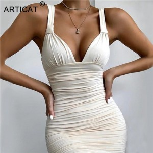 Sexy V Neck Ruched Bodycon Midi Dress Women Sleeveless Bandage White Elegant Party Club Dresses