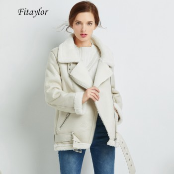 Fitaylor Winter Faux Lamb Leather Jacket Women Faux Leather Lambs Wool Fur Collar Zipper Loose Coat Female Warm Thick Outerwear