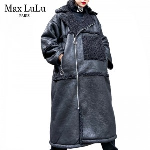 Max LuLu Winter Clothes Luxury Korean Ladies Punk Streetwear Womens Warm Faux Leather Jackets Casual Long Fur PU Coats Plus Size