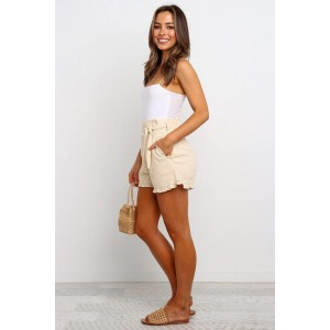 Beige Ruffled Trim High Waist Getaway Shorts