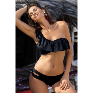 Black One Shoulder Swimsuit with Ruffles