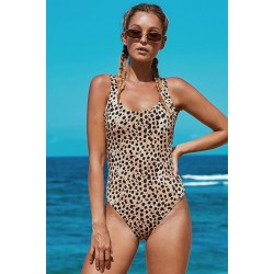 Open Back Leopard Pattern Maillot