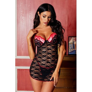 Red Sweet Underwire Floral Lace Chemise Lingerie Black
