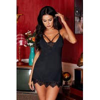 Valentine Day Black Lace with Desire Babydoll Set Red