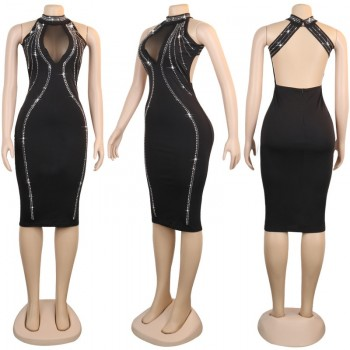 2020 Summer New Hot Women's Hot Drilling Dress Backless Perspective Zipper Dress Fashion Sexy Nightclub Club Party Black Dress