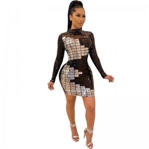 Spring 2020 New Sequin Dress Europe and America Women's Long Sleeve Dress Net Gauze White Black Sequin Dress Black White