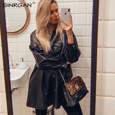 SINRGAN Blue PU Leather Short Dress With Belt Women Oversized Streetwear Jacket Clothing Single Buckle Autumn Winter Outfits
