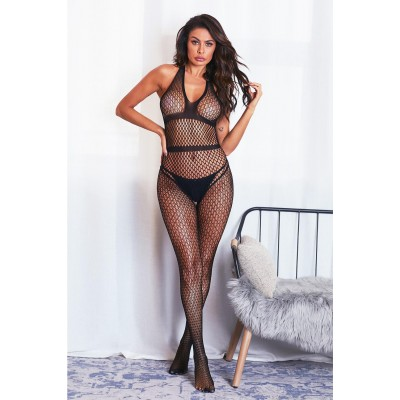 Halter Neck Open Back Netted Bodystocking