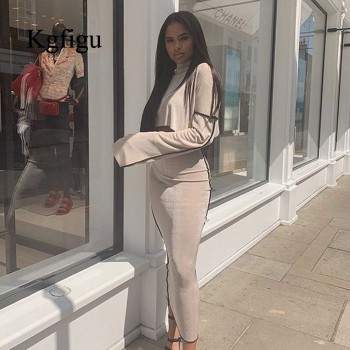 KGFIGU 2 Piece Set Suits Gray casual loose oversize Two Piece Set 2019 Fall Party Women Sets Long sleeve Top and maxi Skirts