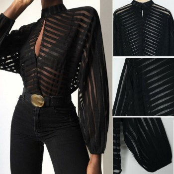 Women Mesh Net Blouse Sheer Long Sleeve Ladies Shirt Black Front Hollow Sexy Tops Womens Clothing Summer Female Blouses hot