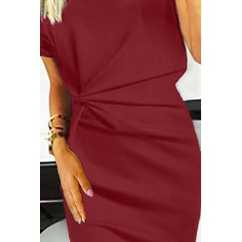 Blue V Neck Cutout Inverted Pleat Bodycon Dress Red