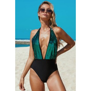 Deep V Neck To Waist Sequin One-piece Swimsuit