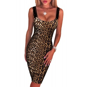 Leopard Print Thick Strap Midi Dress
