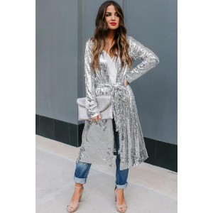 Major Compliments Sequin Duster Cardigan