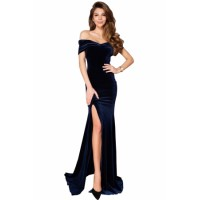 Blue Off-shoulder Side Slit Velvet Maxi Party Dress