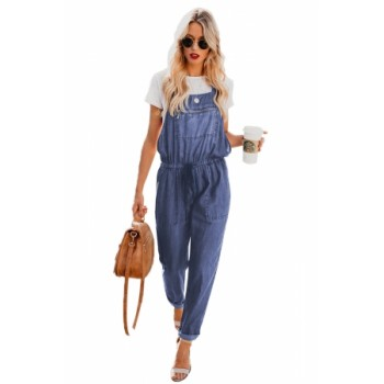 Dark Blue Denim Easygoing Drawstring Overalls