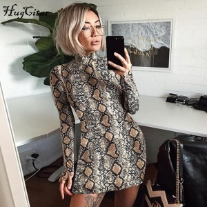Hugcitar snake skin long high neck party mini dress