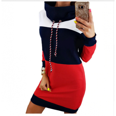 Winter Turtleneck Long Sleeve Hooded Striped Colorful