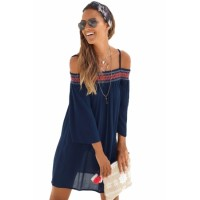 Navy Off Shoulder Embroidered Neckline Boho Beach Dress Black