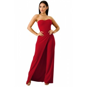 Red Asymmetric Split Leg Strapless Jumpsuit Black White