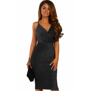 Style Star Black Lurex Cowl Neck Bodycon Midi Dress