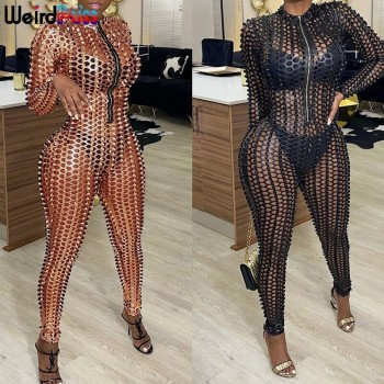 Weird Puss Hollow Out Women Skinny Jumpsuits Sexy Zipper Long Sleeve Activity Fitness Party Club See Through Streetwear Outfits