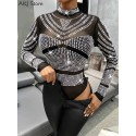 Women Sexy Shiny Bodysuit See Through Transparent Mesh Long Sleeve Sheer Rhinestone Bodysuits