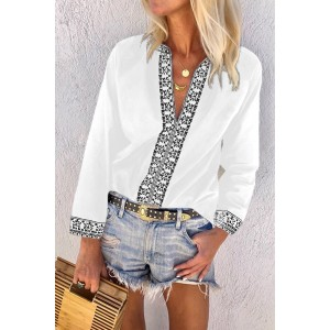 Black Retro Print V-Neck Blouse Top White