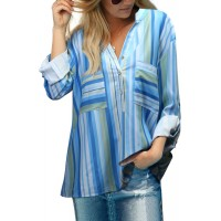 Blue Stripes Printed Dyed Loose Blouse Yellow