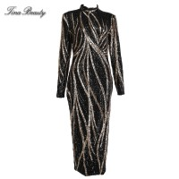 Glittering Womens Turtleneck Long Sleeve Sequin Maxi Bodycon Dress Elegant Stretch Geometrical Foil Black Gold Silver