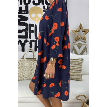 Multicolor Printed V-Neck Three Quarter Sleeve Loose Dress Blue Black