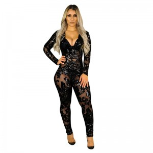 See Through Black Sequin Jumpsuit Women Long Sleeve Sparkly Bodycon Jumpsuit