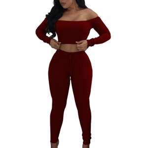 Women Sets Off Shoulder Criss Cross Crop Top Long Pants Two Piece Set Red White Black Gray