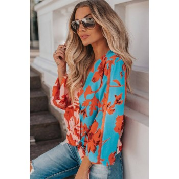 Deep V Neck Wrap Color Block Base Floral Print Blouse