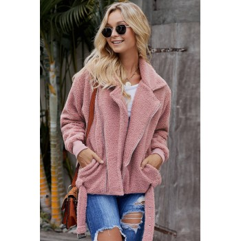 Pink Niagara Falls Pocketed Sherpa Jacket Khaki Black