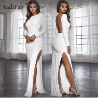 Backless women sexy long party dress long sleeve high side split bodycon maxi dress Black Red White Yellow Blue Burgundy