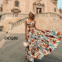 Women Summer Bohemian Beach Print Dress Sexy Party Night Elegant Maxi White Dress