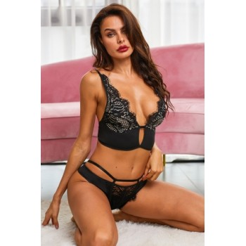 Black Cut Out Plunge Lace Longline Underwire bra
