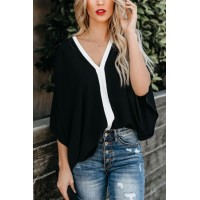 Black Fashion Contrast Color V Neck Blouse White