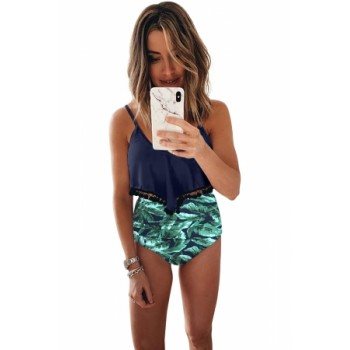 Green Print High Waist Swimsuit