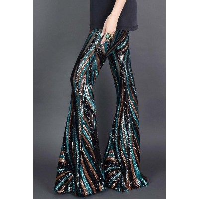 Black&Green Sequin Pants