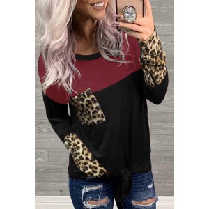 Color Block Splicing Leopard Printed Pocket Tie Blouse Red Black