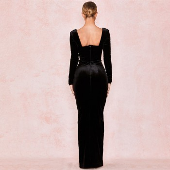 Cryptographic Black Velvet Plunge V-Neck Gown Sexy Maxi Dresses Women 2020 Spring Backless Long Sleeve Party Night Split Dress