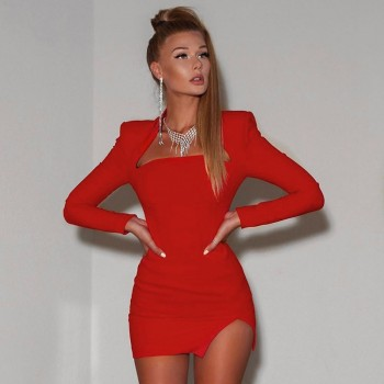 Cryptographic Women's Red Dresses Notched Neck Open Chest Slit Hem Bodycon Mini Dresses Sexy Ladies Party Dresses Clubwear Fall